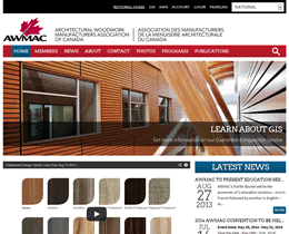 Screenshot of Architectural Woodwork Manufacturer's Association of Canada website by Jukah Digital