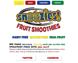 Screenshot of Snoozies Fruit Smoothies website by Jukah Digital