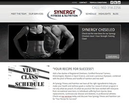 Screenshot of Synergy Fitness & Nutrition website by Jukah Digital
